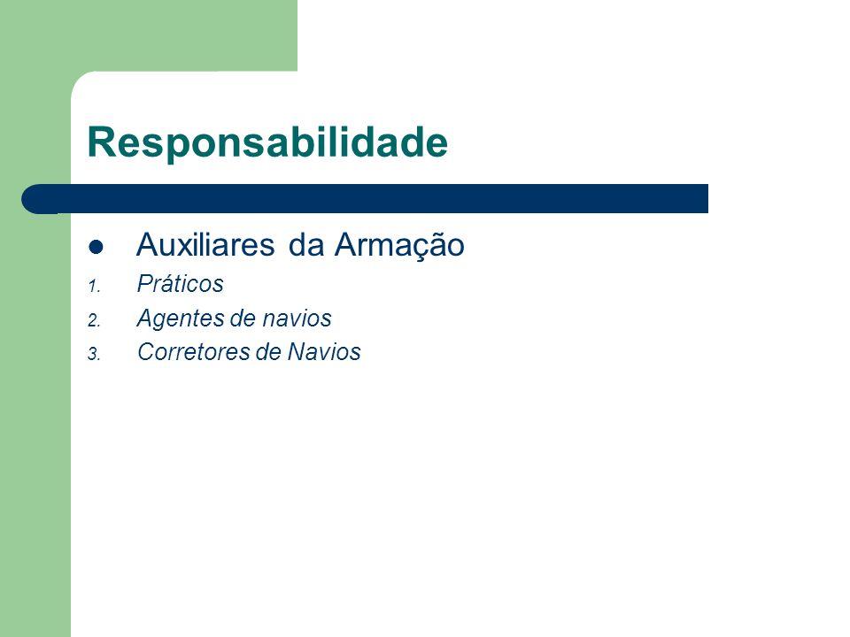 Responsabilidade Auxiliares da Armação 1. Práticos 2. Agentes de navios 3. Corretores de Navios