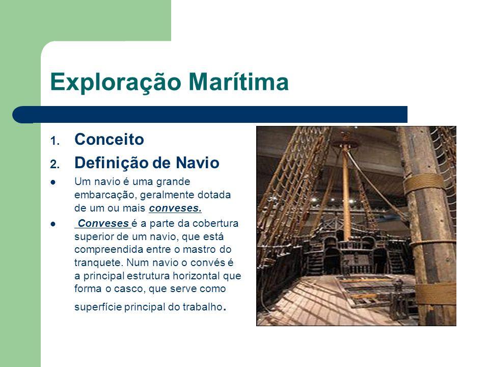 Exploração Marítima 1. Conceito 2. Definição de Navio Um navio é uma grande embarcação, geralmente dotada de um ou mais conveses. Conveses é a parte d