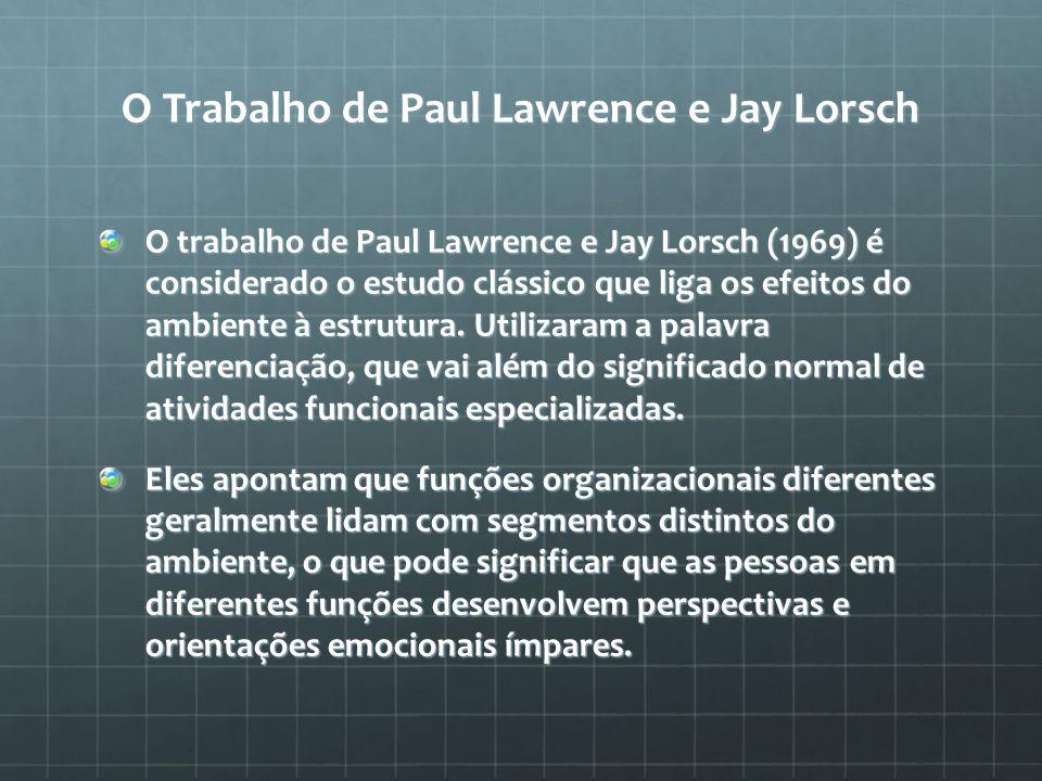 O Trabalho de Paul Lawrence e Jay Lorsch O trabalho de Paul Lawrence e Jay Lorsch (1969) é considerado o estudo clássico que liga os efeitos do ambien