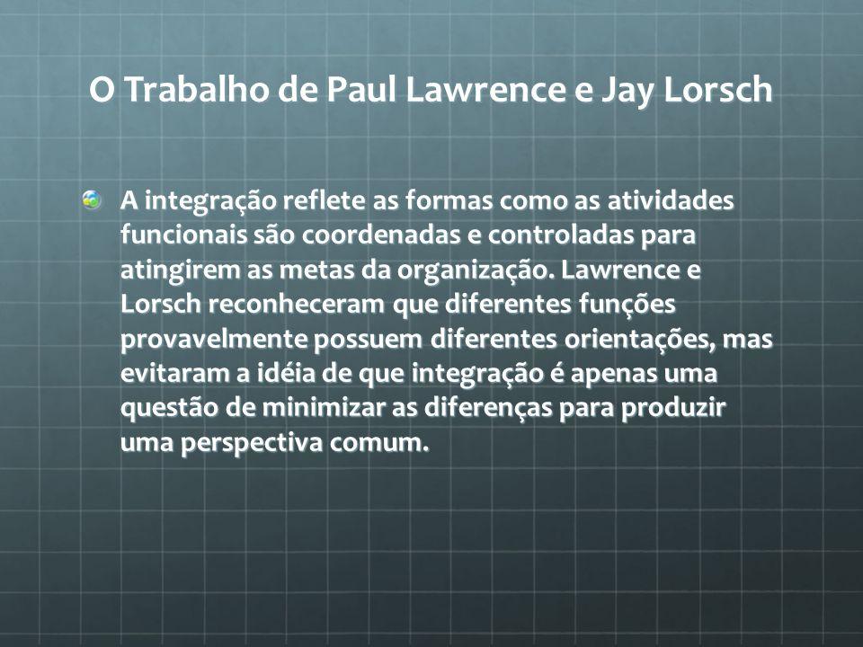 O Trabalho de Paul Lawrence e Jay Lorsch A integração reflete as formas como as atividades funcionais são coordenadas e controladas para atingirem as