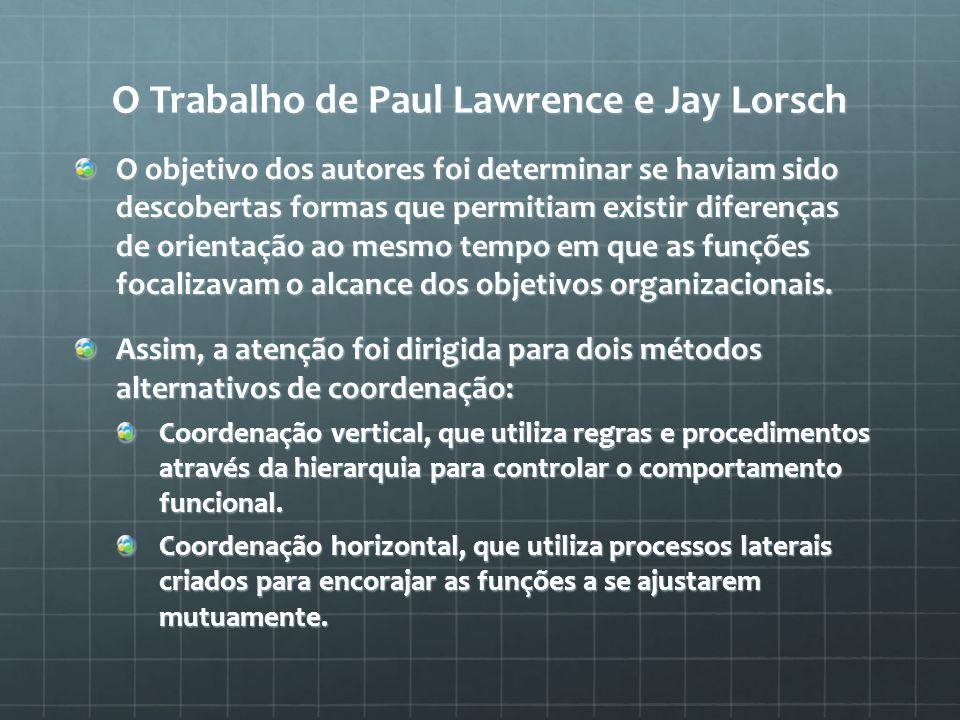 O Trabalho de Paul Lawrence e Jay Lorsch O objetivo dos autores foi determinar se haviam sido descobertas formas que permitiam existir diferenças de o