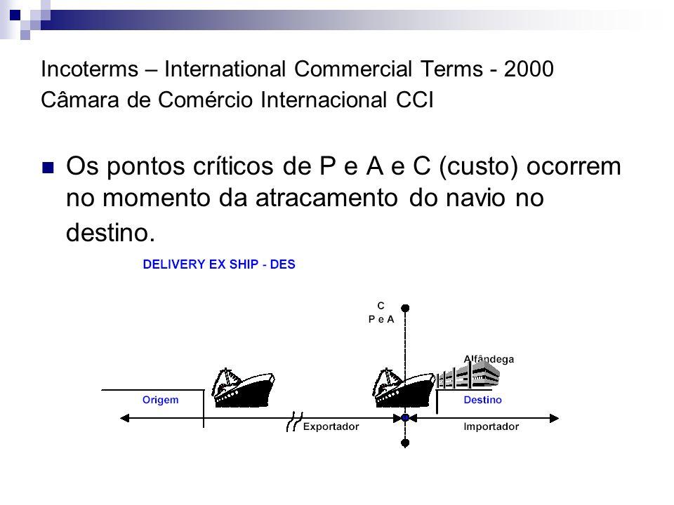 Incoterms – International Commercial Terms - 2000 Câmara de Comércio Internacional CCI Os pontos críticos de P e A e C (custo) ocorrem no momento da a