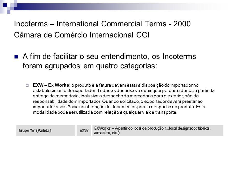 Incoterms – International Commercial Terms - 2000 Câmara de Comércio Internacional CCI 1 - O exportador assume os riscos até o momento da colocação do produto à disposição do importador, no estabelecimento do exportador.