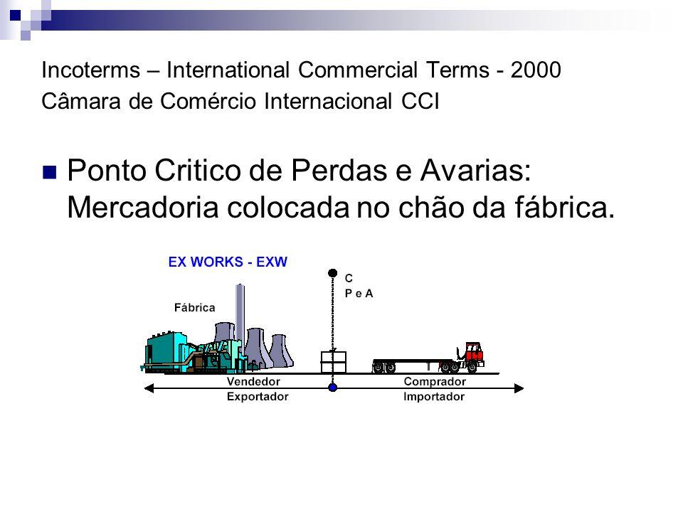 Incoterms – International Commercial Terms - 2000 Câmara de Comércio Internacional CCI Ponto Critico de Perdas e Avarias: o vendedor assume outros custos, transferindo o ponto critico para cima do veículo transportador.