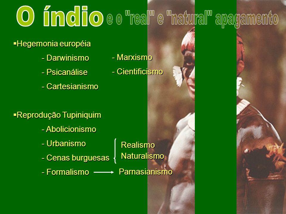 Hegemonia européia Hegemonia européia - Darwinismo - Psicanálise - Cartesianismo Reprodução Tupiniquim Reprodução Tupiniquim - Abolicionismo - Urbanis