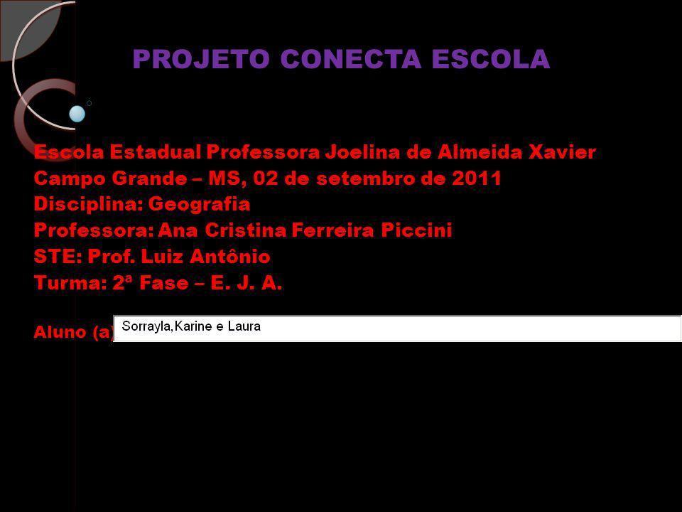 PROJETO CONECTA ESCOLA Escola Estadual Professora Joelina de Almeida Xavier Campo Grande – MS, 02 de setembro de 2011 Disciplina: Geografia Professora