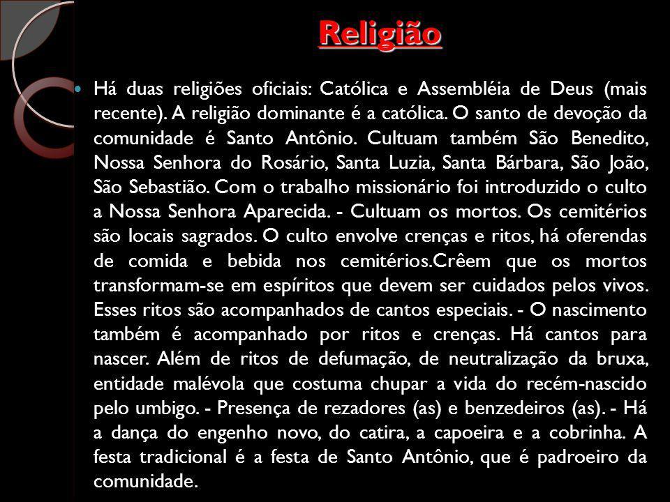 Religião Há duas religiões oficiais: Católica e Assembléia de Deus (mais recente). A religião dominante é a católica. O santo de devoção da comunidade
