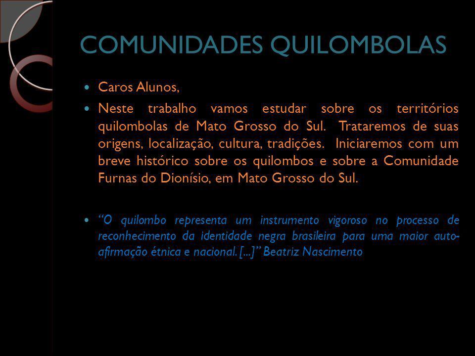 COMUNIDADES QUILOMBOLAS Caros Alunos, Neste trabalho vamos estudar sobre os territórios quilombolas de Mato Grosso do Sul. Trataremos de suas origens,