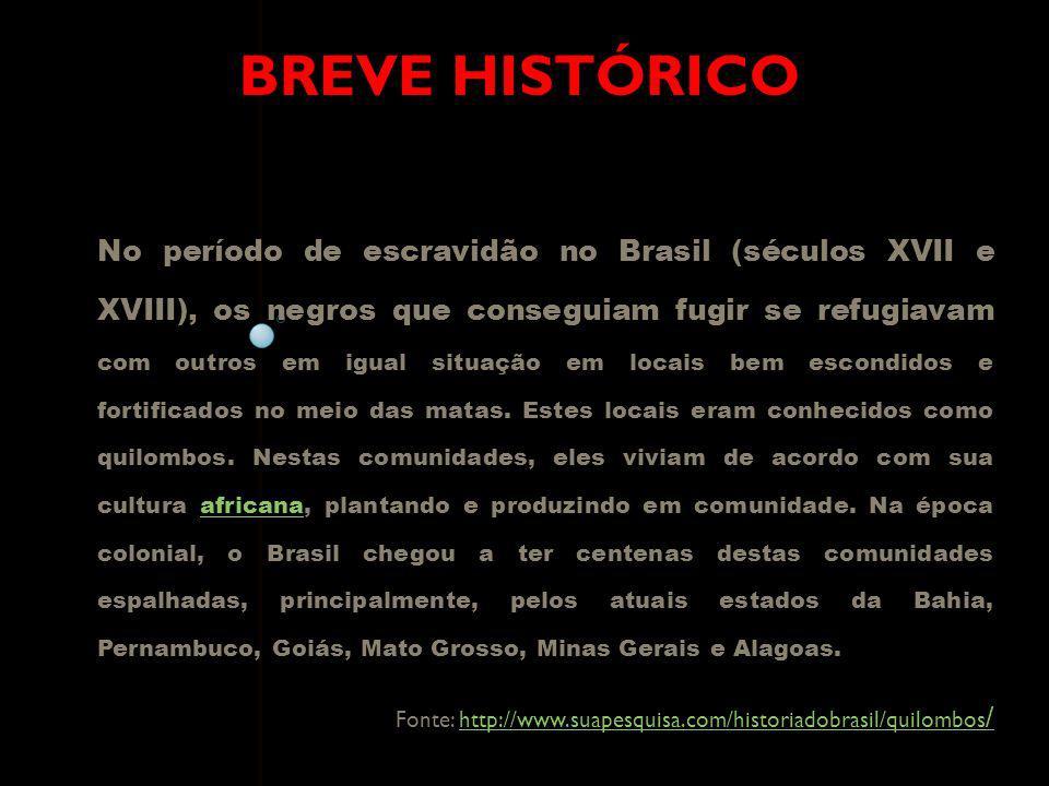 BREVE HISTÓRICO No período de escravidão no Brasil (séculos XVII e XVIII), os negros que conseguiam fugir se refugiavam com outros em igual situação e