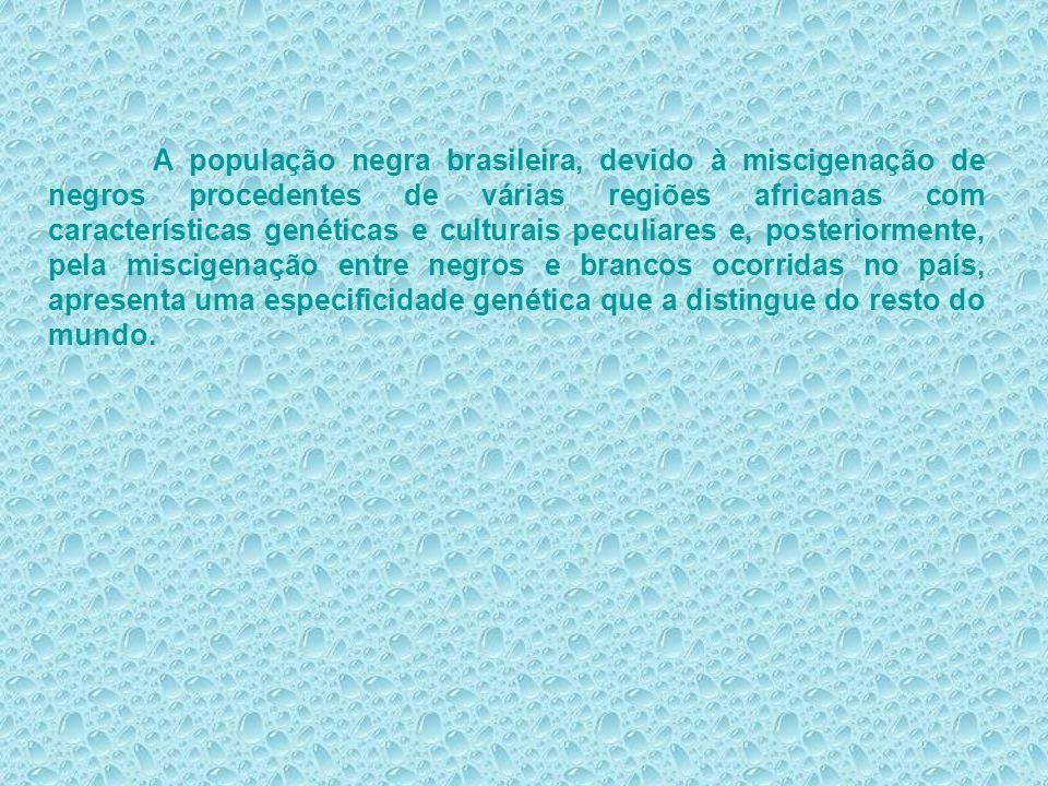 A população negra brasileira, devido à miscigenação de negros procedentes de várias regiões africanas com características genéticas e culturais peculi