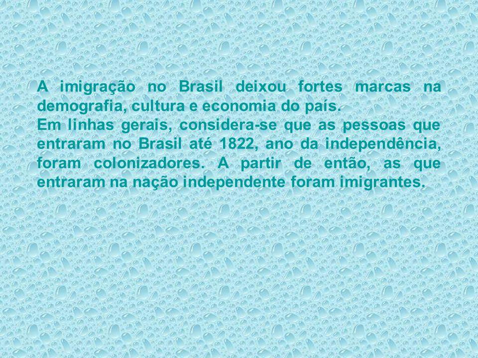 A imigração no Brasil deixou fortes marcas na demografia, cultura e economia do país. Em linhas gerais, considera-se que as pessoas que entraram no Br