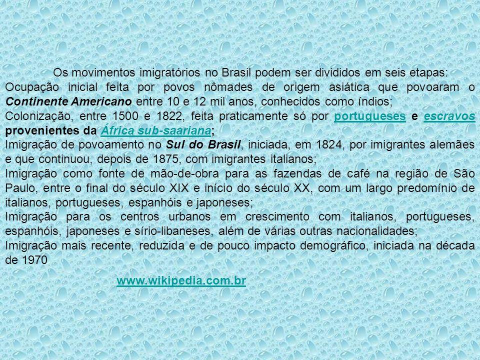 Os movimentos imigratórios no Brasil podem ser divididos em seis etapas: Ocupação inicial feita por povos nômades de origem asiática que povoaram o Co