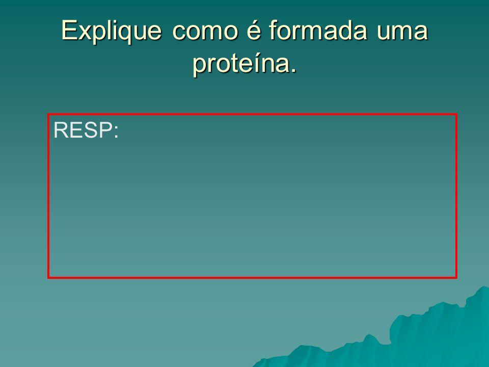 Explique como é formada uma proteína. RESP: