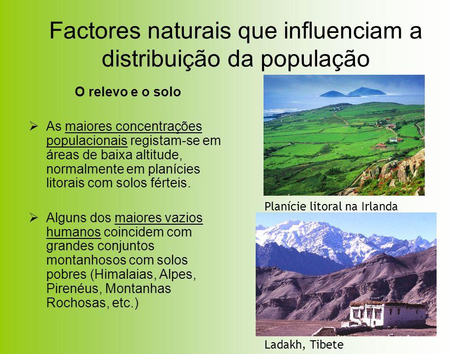 Factores naturais que influenciam a distribuição da população O relevo e o solo As maiores concentrações populacionais registam-se em áreas de baixa a