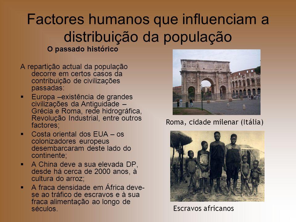 Factores humanos que influenciam a distribuição da população O passado histórico A repartição actual da população decorre em certos casos da contribui