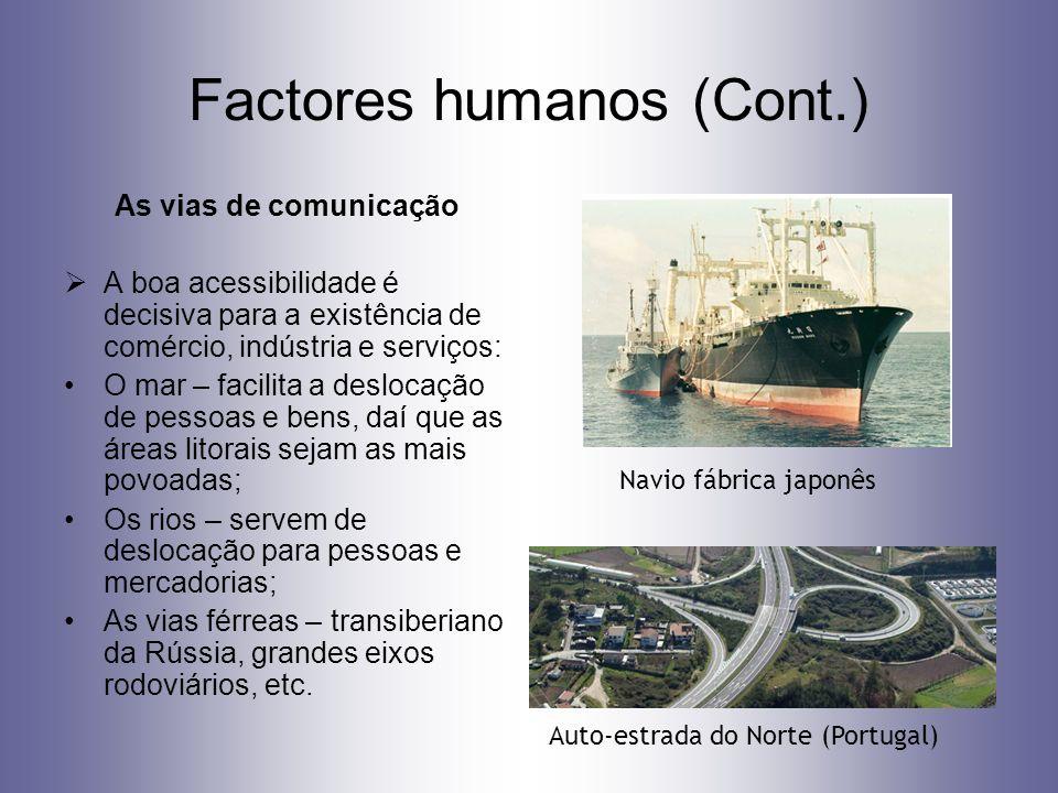 Factores humanos (Cont.) As vias de comunicação A boa acessibilidade é decisiva para a existência de comércio, indústria e serviços: O mar – facilita