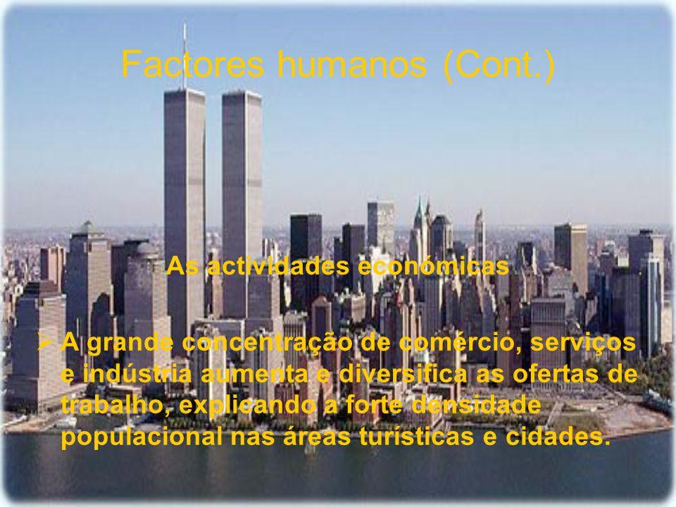 Factores humanos (Cont.) As actividades económicas A grande concentração de comércio, serviços e indústria aumenta e diversifica as ofertas de trabalh