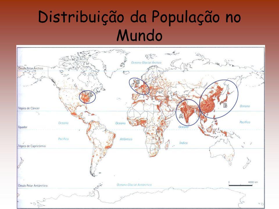 População Absoluta / Densidade populacional Vivem no mundo, neste início do século XXI, mais de 6 mil milhões de pessoas (6 000 000).