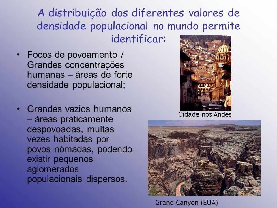 A distribuição dos diferentes valores de densidade populacional no mundo permite identificar: Focos de povoamento / Grandes concentrações humanas – ár