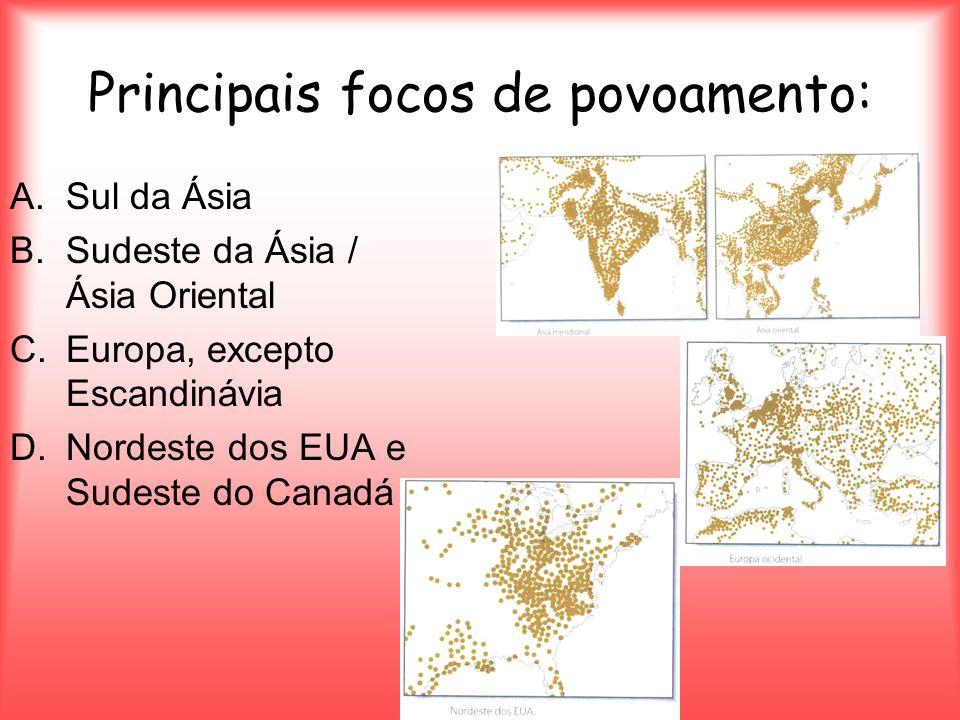 Principais focos de povoamento: A.Sul da Ásia B.Sudeste da Ásia / Ásia Oriental C.Europa, excepto Escandinávia D.Nordeste dos EUA e Sudeste do Canadá
