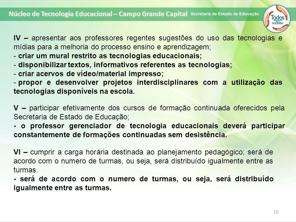 10 IV – apresentar aos professores regentes sugestões do uso das tecnologias e mídias para a melhoria do processo ensino e aprendizagem; - criar um mu