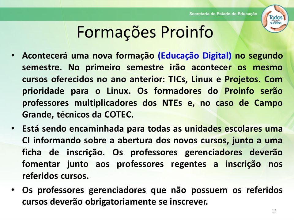 Formações Proinfo Acontecerá uma nova formação (Educação Digital) no segundo semestre. No primeiro semestre irão acontecer os mesmo cursos oferecidos