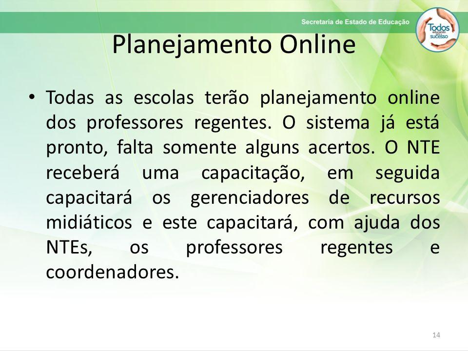 Planejamento Online Todas as escolas terão planejamento online dos professores regentes. O sistema já está pronto, falta somente alguns acertos. O NTE