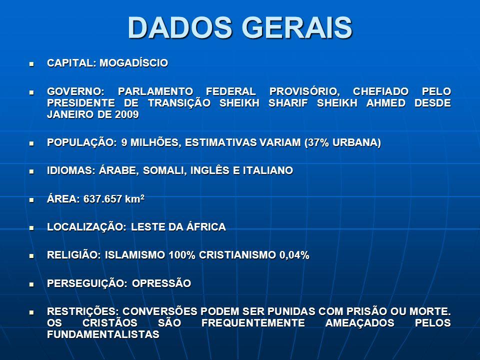 DADOS GERAIS CAPITAL: MOGADÍSCIO CAPITAL: MOGADÍSCIO GOVERNO: PARLAMENTO FEDERAL PROVISÓRIO, CHEFIADO PELO PRESIDENTE DE TRANSIÇÃO SHEIKH SHARIF SHEIK