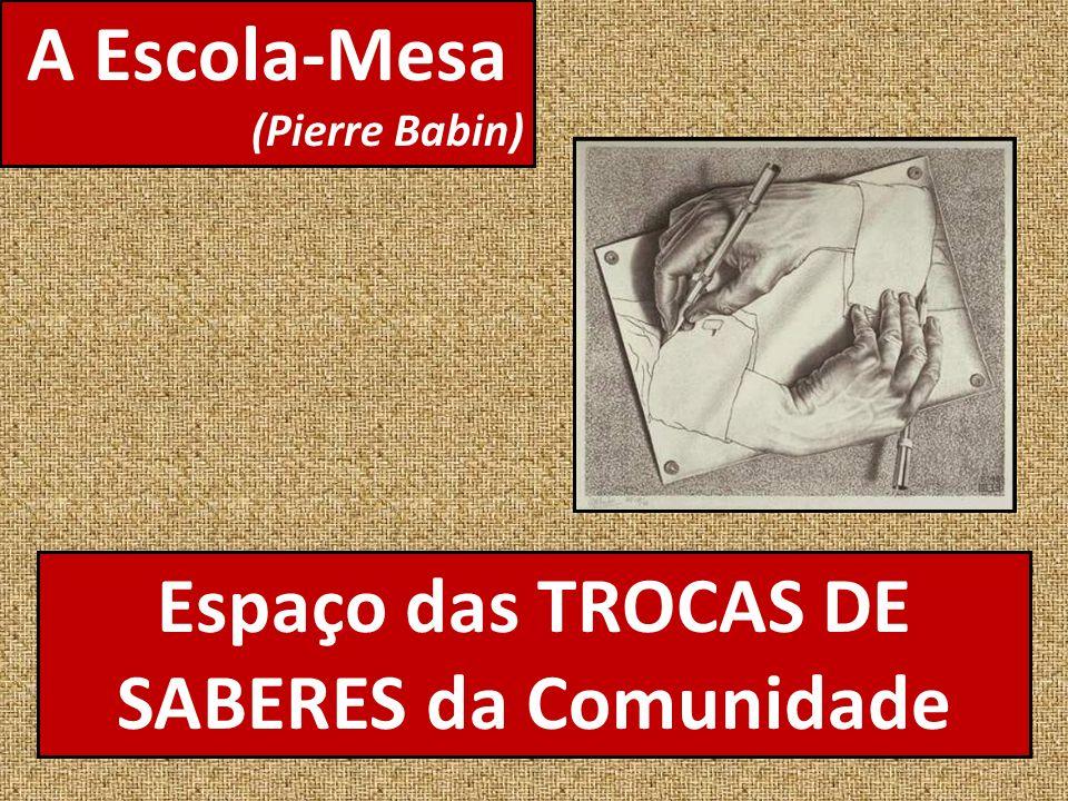 A Escola-Mesa (Pierre Babin) Espaço das TROCAS DE SABERES da Comunidade
