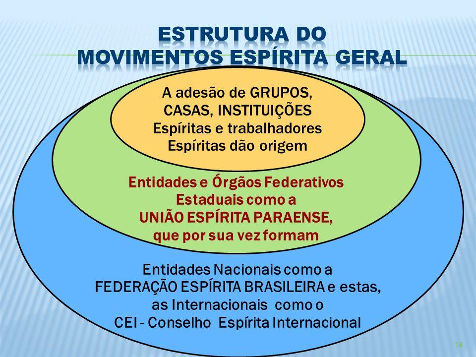 14 Entidades Nacionais como a FEDERAÇÃO ESPÍRITA BRASILEIRA e estas, as Internacionais como o CEI - Conselho Espírita Internacional Entidades e Órgãos