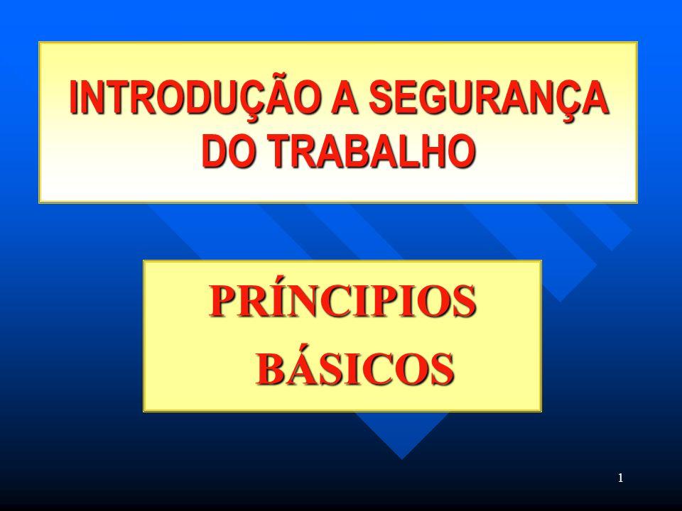 1 INTRODUÇÃO A SEGURANÇA DO TRABALHO PRÍNCIPIOS BÁSICOS
