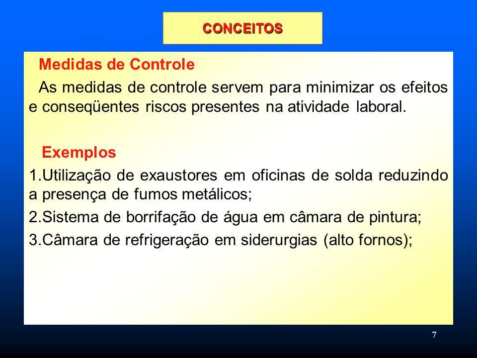 7 Medidas de Controle As medidas de controle servem para minimizar os efeitos e conseqüentes riscos presentes na atividade laboral.
