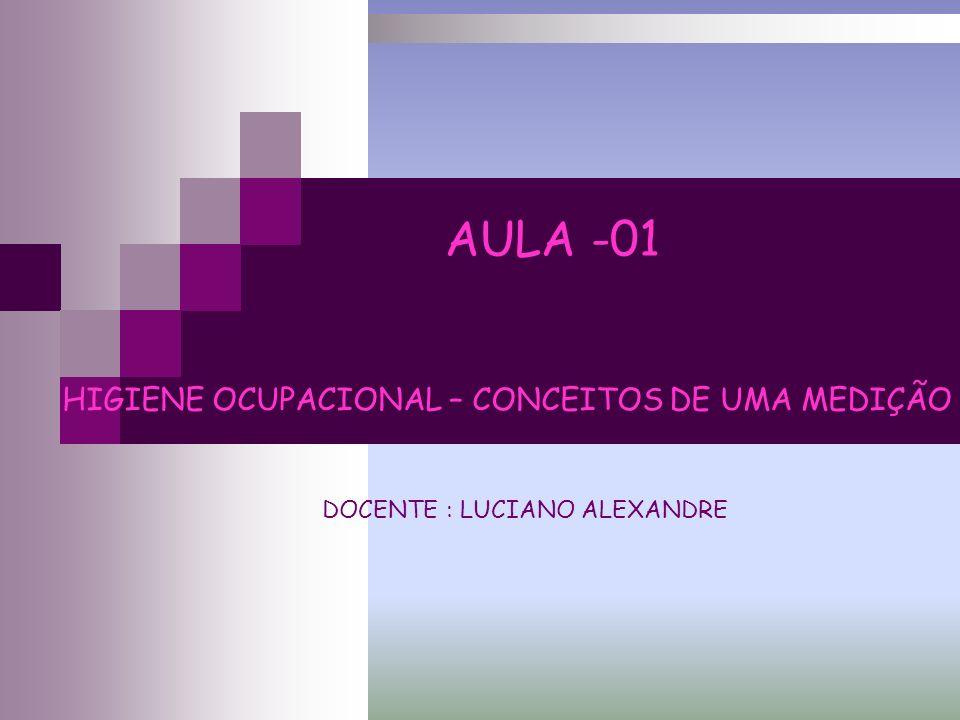 HIGIENE OCUPACIONAL – CONCEITOS DE UMA MEDIÇÃO DOCENTE : LUCIANO ALEXANDRE AULA -01