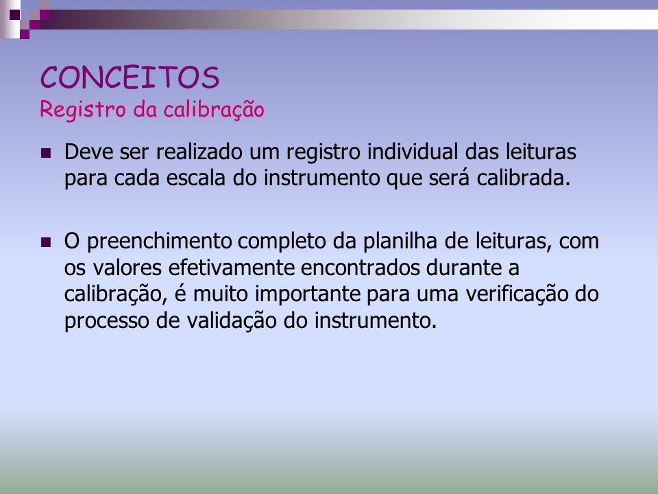 CONCEITOS Registro da calibração Deve ser realizado um registro individual das leituras para cada escala do instrumento que será calibrada. O preenchi