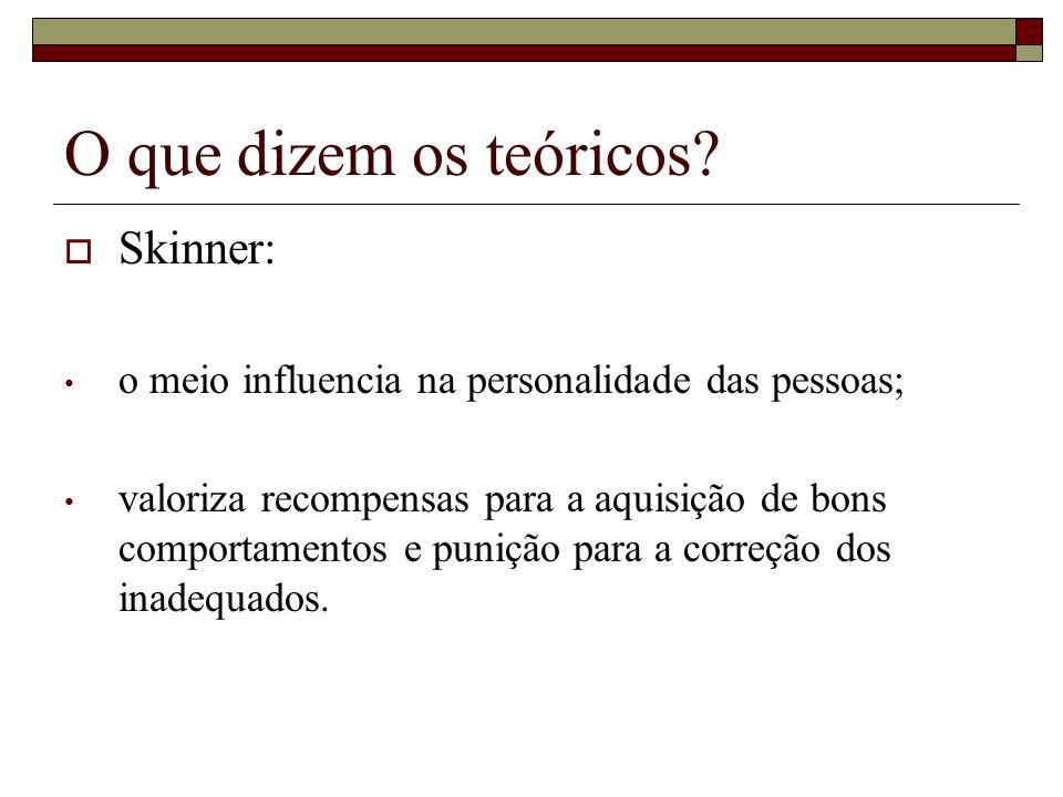 O que dizem os teóricos? Skinner: o meio influencia na personalidade das pessoas; valoriza recompensas para a aquisição de bons comportamentos e puniç