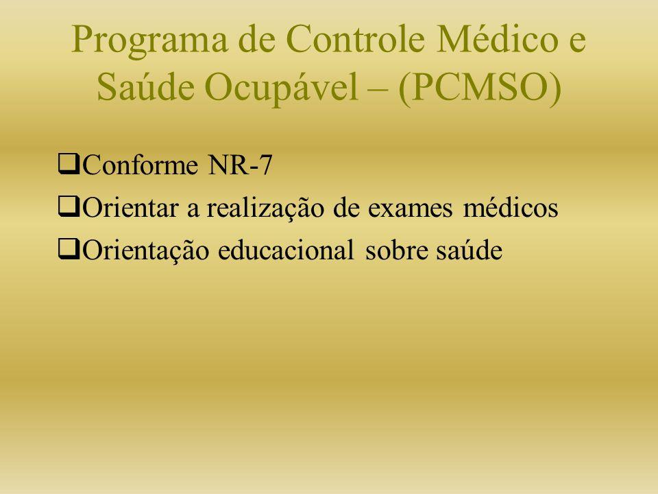 Programa de Controle Médico e Saúde Ocupável – (PCMSO) Conforme NR-7 Orientar a realização de exames médicos Orientação educacional sobre saúde