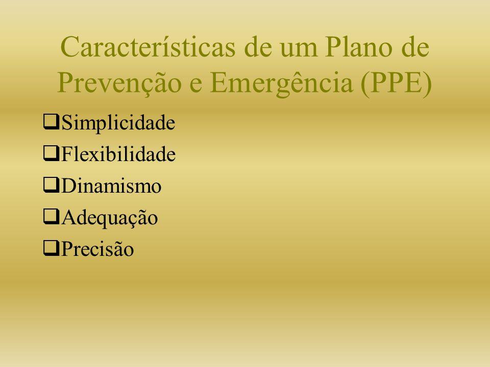 Características de um Plano de Prevenção e Emergência (PPE) Simplicidade Flexibilidade Dinamismo Adequação Precisão