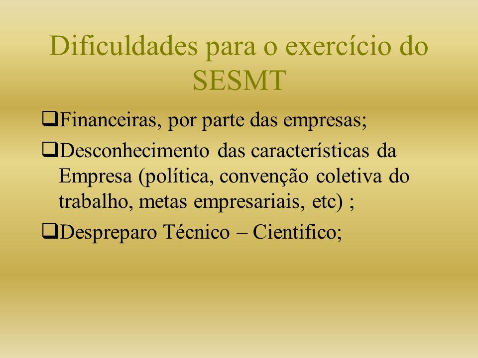 Dificuldades para o exercício do SESMT Financeiras, por parte das empresas; Desconhecimento das características da Empresa (política, convenção coleti