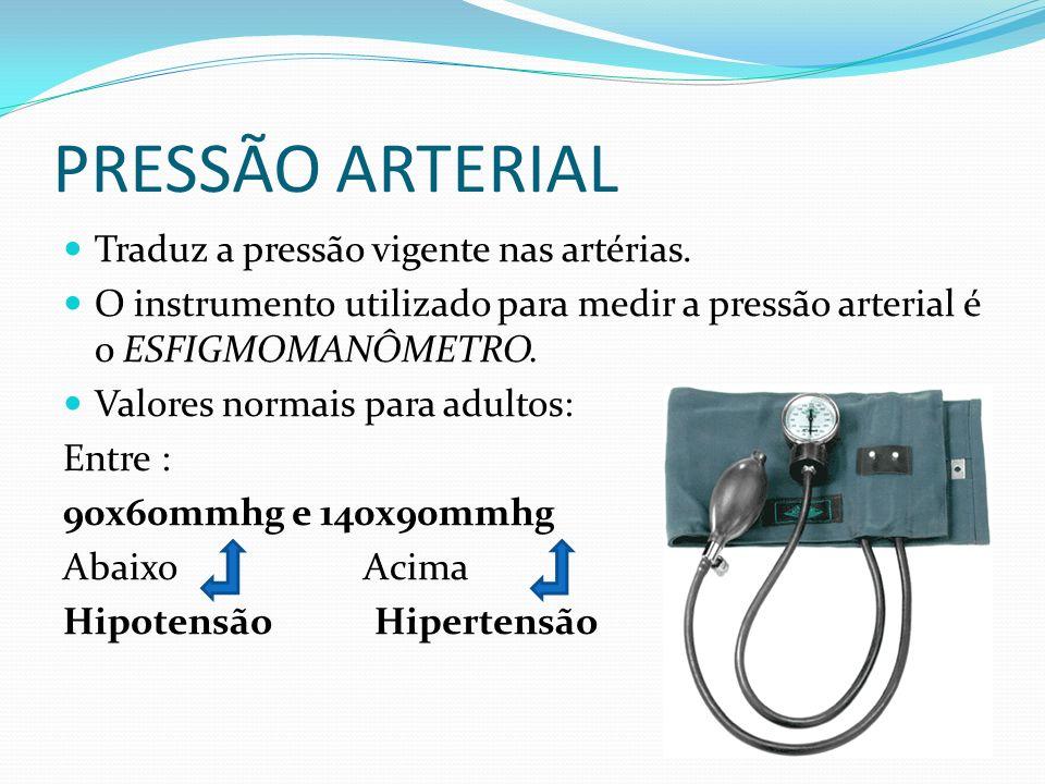 PRESSÃO ARTERIAL Traduz a pressão vigente nas artérias. O instrumento utilizado para medir a pressão arterial é o ESFIGMOMANÔMETRO. Valores normais pa