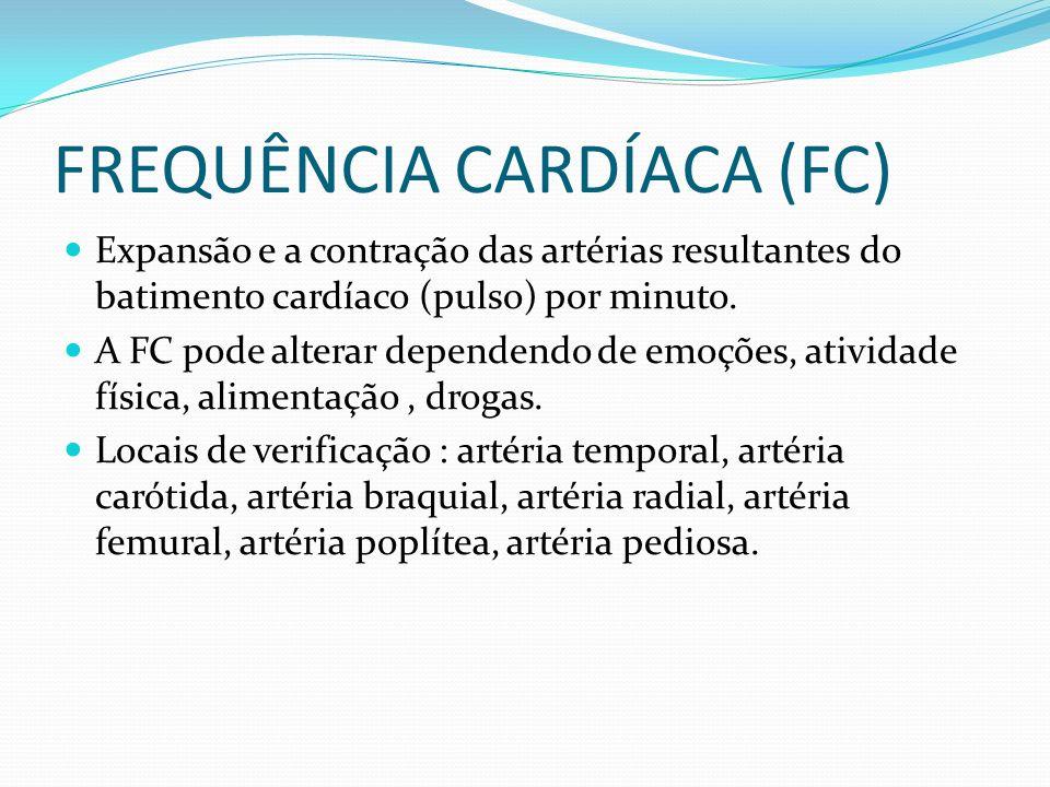 FREQUÊNCIA CARDÍACA (FC) Expansão e a contração das artérias resultantes do batimento cardíaco (pulso) por minuto. A FC pode alterar dependendo de emo