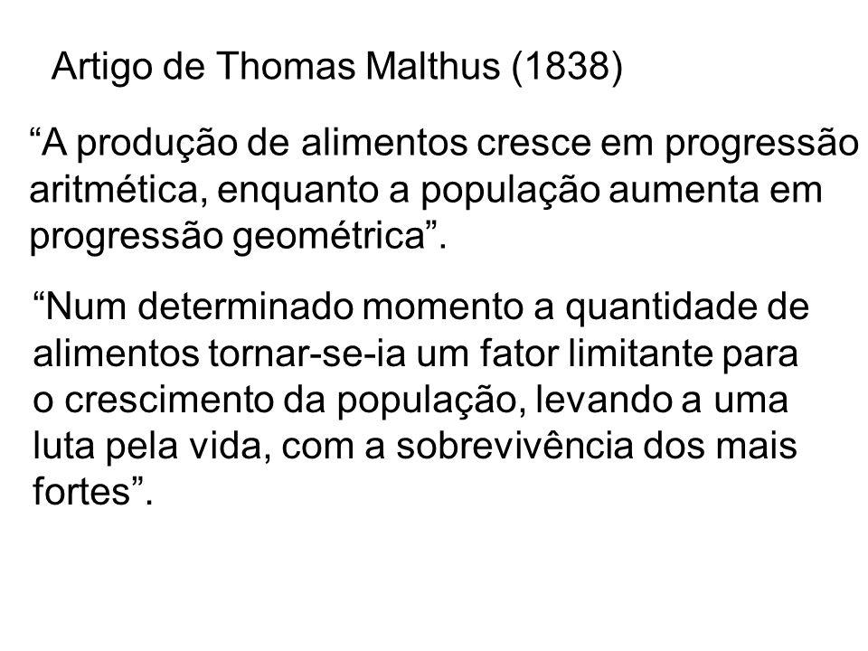 Princípios da Seleção Natural (1859) -Toda população tende a crescer em progressão geométrica.