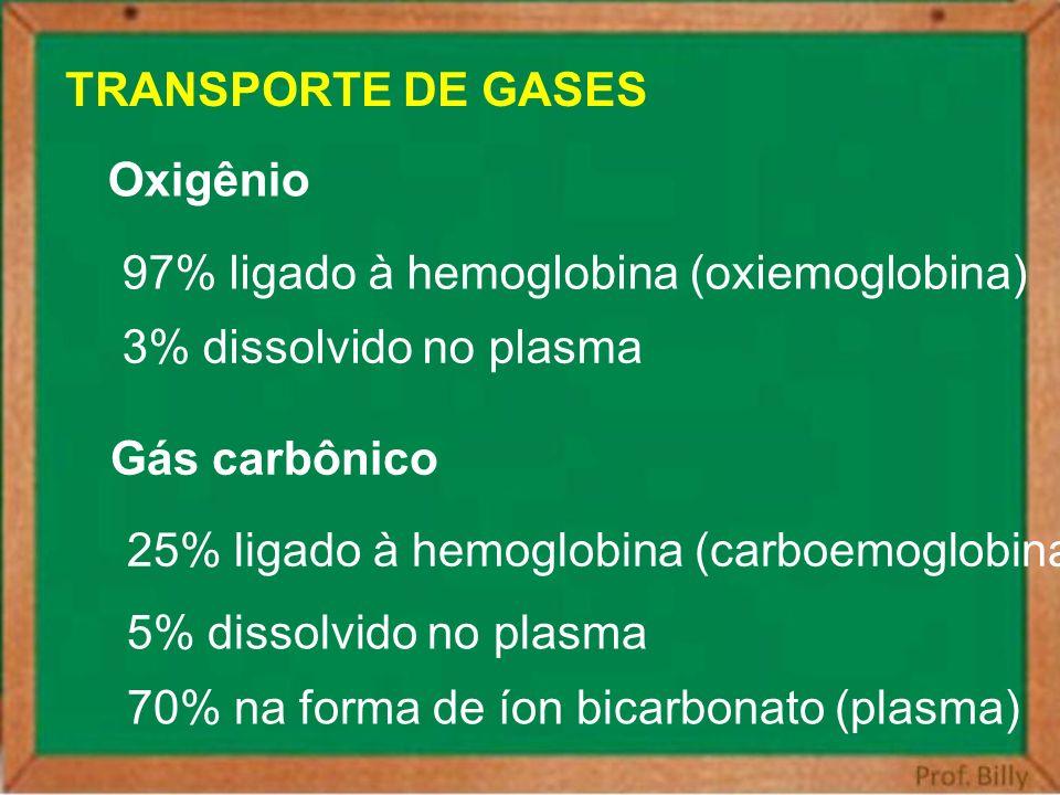 TRANSPORTE DE GASES Oxigênio 97% ligado à hemoglobina (oxiemoglobina) 3% dissolvido no plasma Gás carbônico 25% ligado à hemoglobina (carboemoglobina)