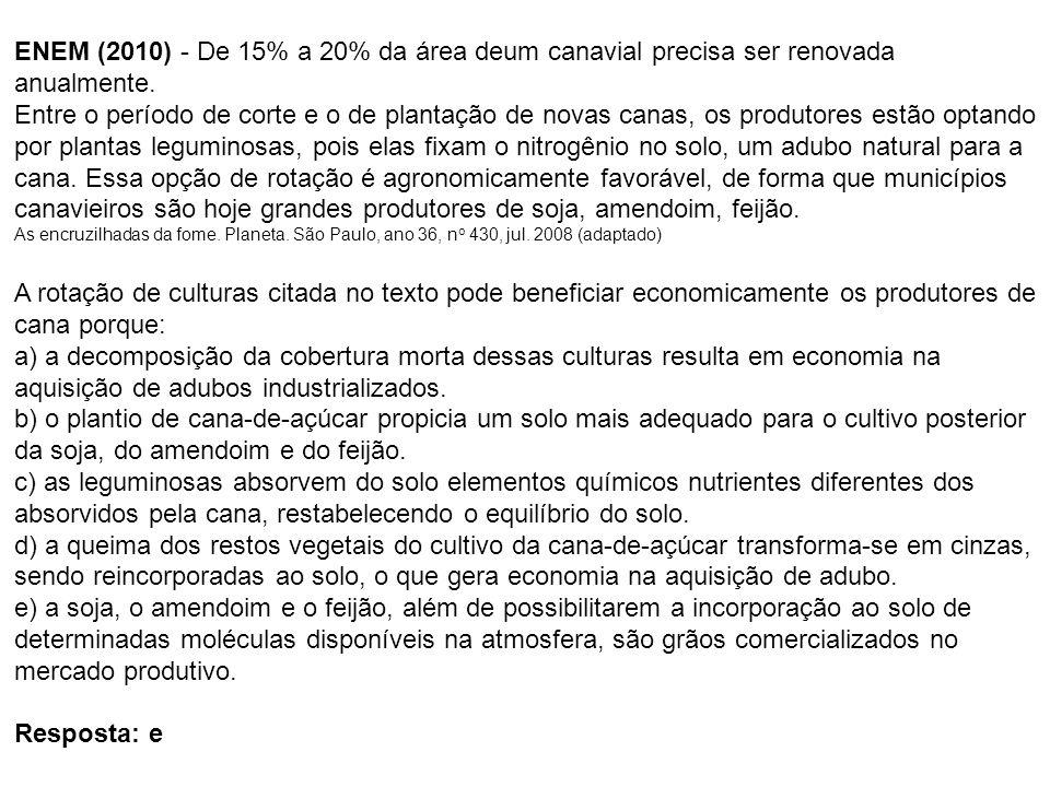 ENEM (2010) - De 15% a 20% da área deum canavial precisa ser renovada anualmente. Entre o período de corte e o de plantação de novas canas, os produto