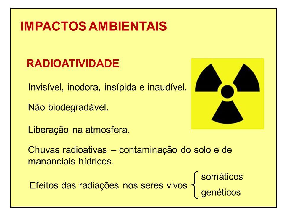 IMPACTOS AMBIENTAIS RADIOATIVIDADE Não biodegradável. Liberação na atmosfera. Chuvas radioativas – contaminação do solo e de mananciais hídricos. Invi