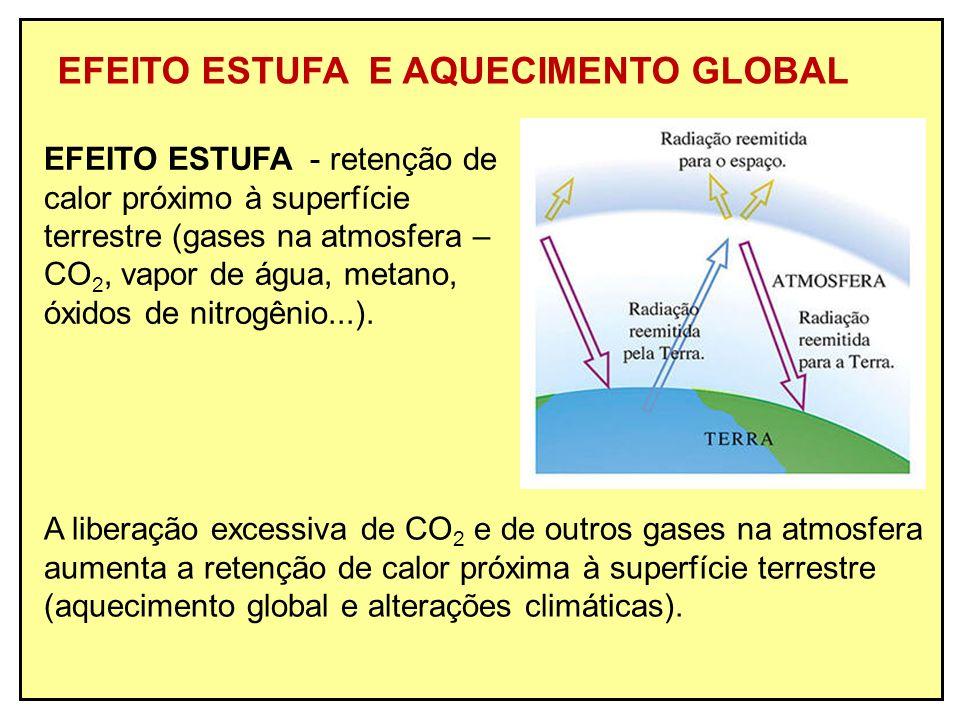 EFEITO ESTUFA E AQUECIMENTO GLOBAL EFEITO ESTUFA - retenção de calor próximo à superfície terrestre (gases na atmosfera – CO 2, vapor de água, metano,
