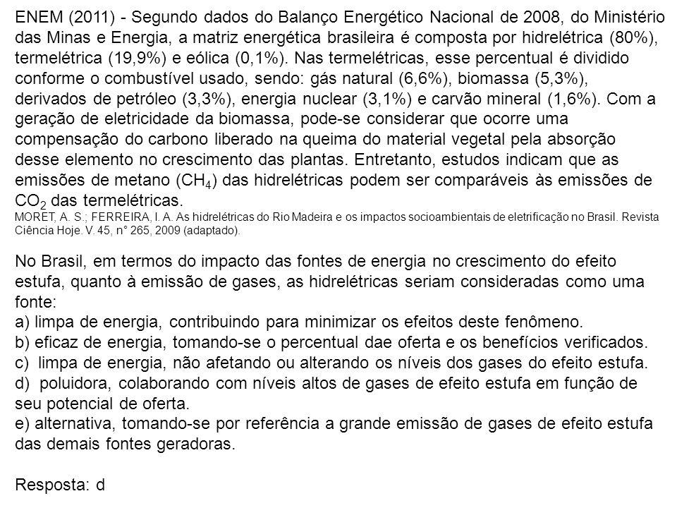 ENEM (2011) - Segundo dados do Balanço Energético Nacional de 2008, do Ministério das Minas e Energia, a matriz energética brasileira é composta por h