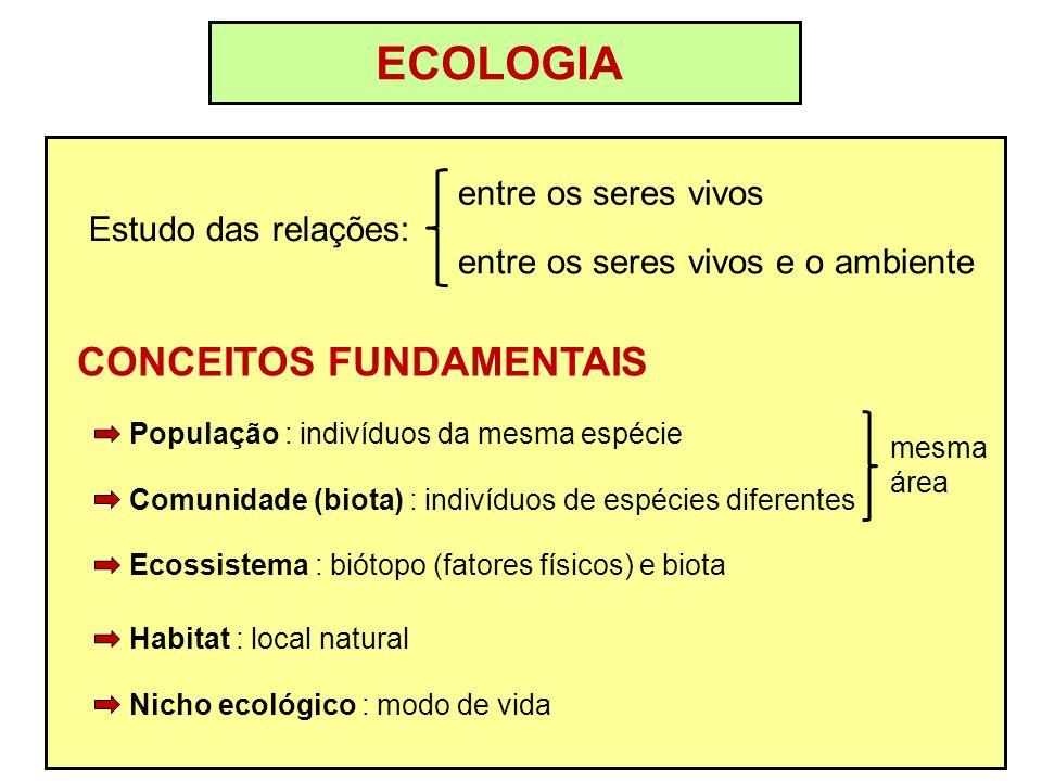 ECOLOGIA Estudo das relações: entre os seres vivos entre os seres vivos e o ambiente CONCEITOS FUNDAMENTAIS Nicho ecológico : modo de vida Habitat : l
