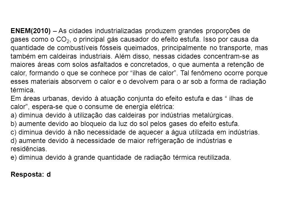 ENEM(2010) – As cidades industrializadas produzem grandes proporções de gases como o CO 2, o principal gás causador do efeito estufa. Isso por causa d