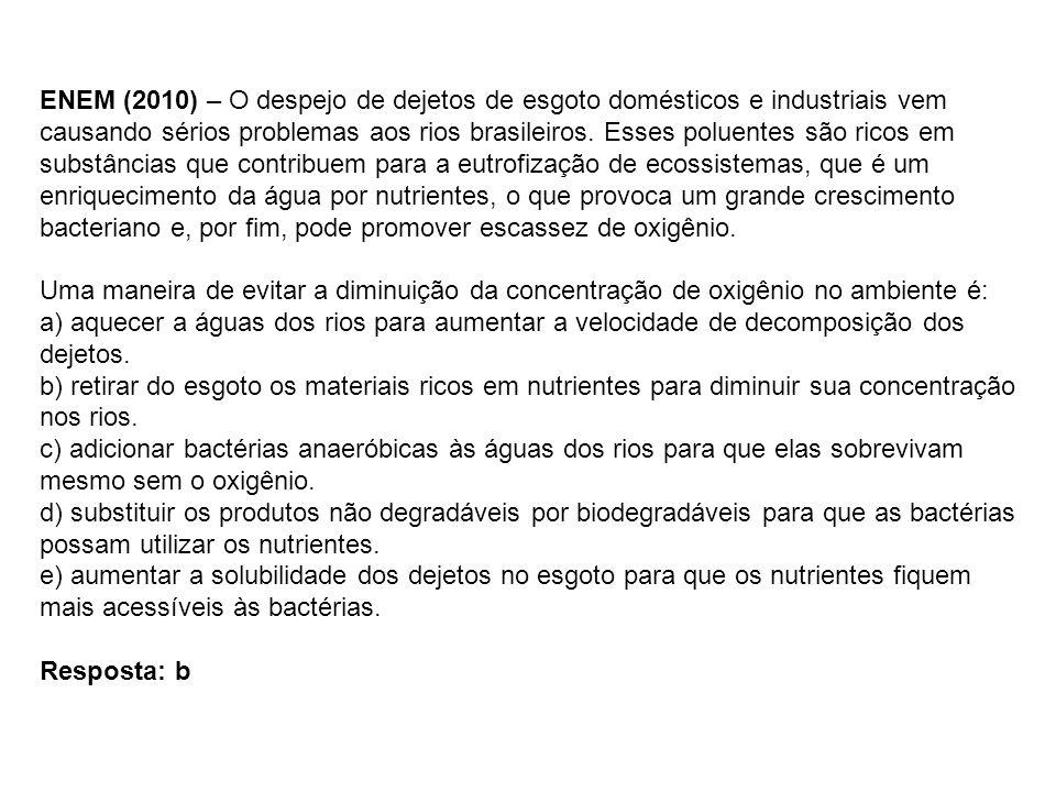 ENEM (2010) – O despejo de dejetos de esgoto domésticos e industriais vem causando sérios problemas aos rios brasileiros. Esses poluentes são ricos em