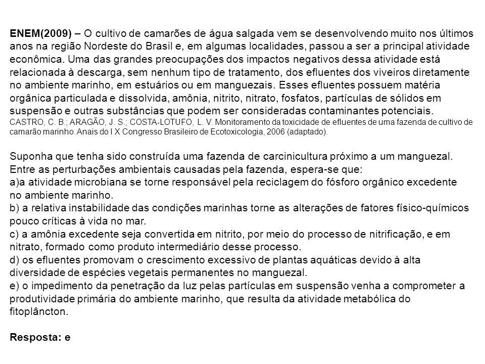 ENEM(2009) – O cultivo de camarões de água salgada vem se desenvolvendo muito nos últimos anos na região Nordeste do Brasil e, em algumas localidades,